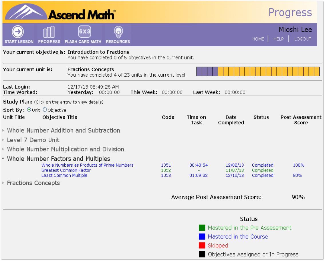 Progress Monitoring - Ascend Math