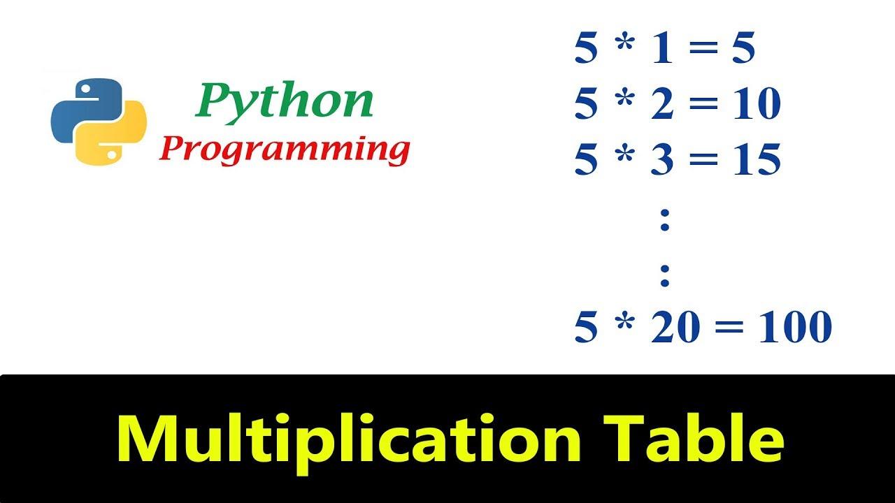 Python Tutorials - Multiplication Table Program