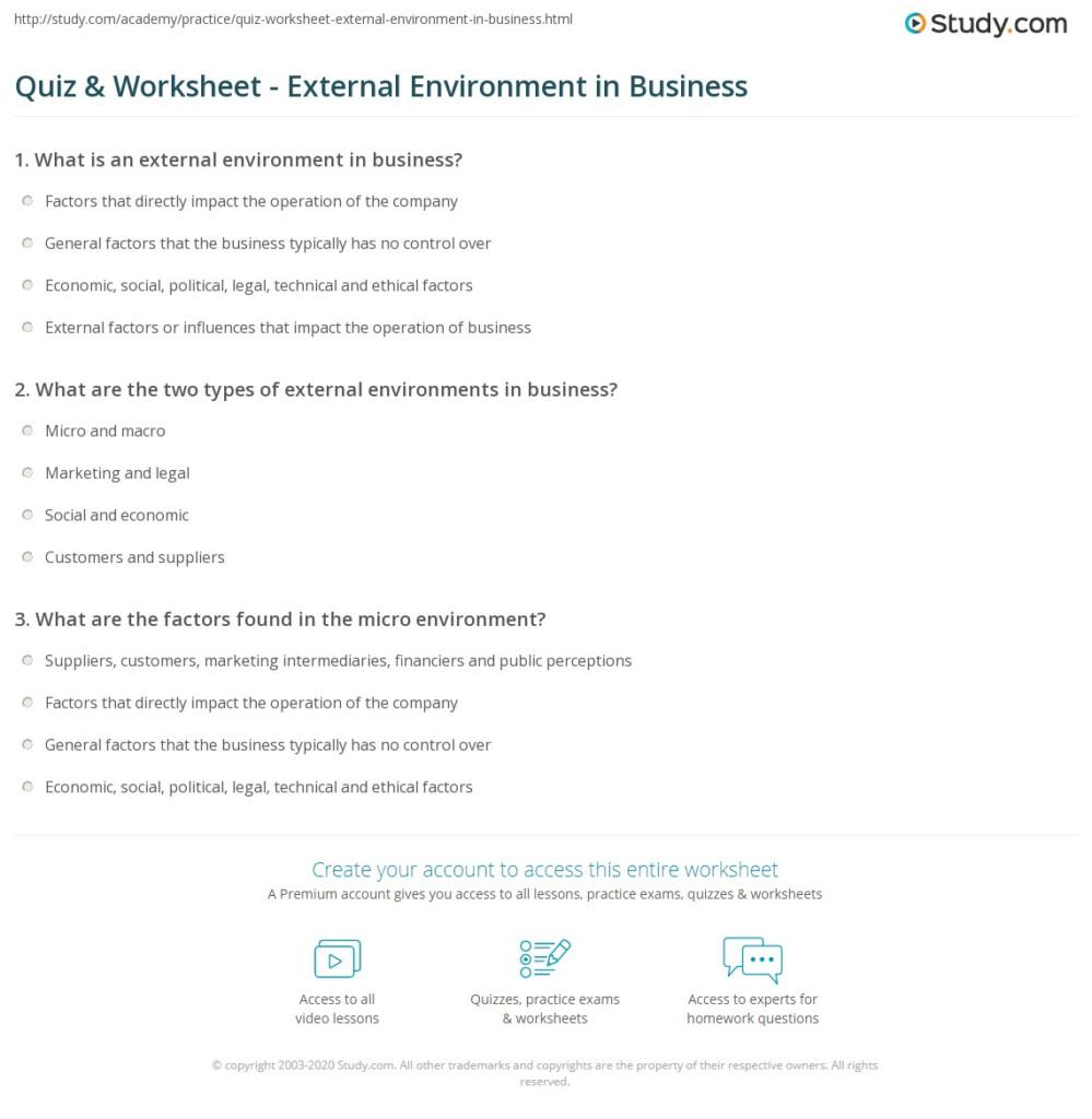 Quiz Worksheet External Environment In Business Study