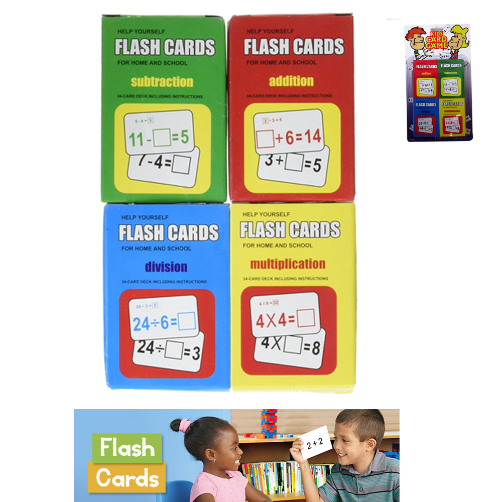 Set 4 Math Flash Cards Addition Subtraction Multiplication Division Child  Learn - Walmart
