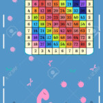 Square Multiplication Chart With Cartoon Dino Table Poster Mathematical..