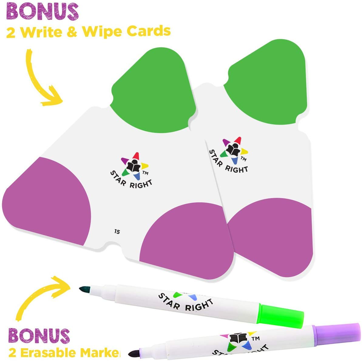 Star Right Math Triangle Flash Cards, Multiplication And Division Facts  0-12, Double-Sided, 2 Write And Wipe Cards Included, 2 Erasable Markers,  For