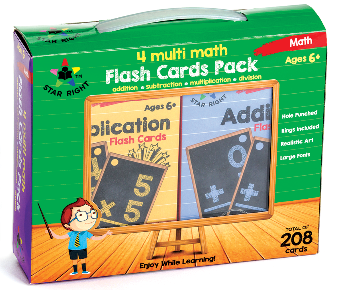 Star Right Multi Math Flash Cards, Set Of 4 - Multiplication, Addition,  Division, Subtraction - Value Pack Flash Cards With Rings For Pre K - K -