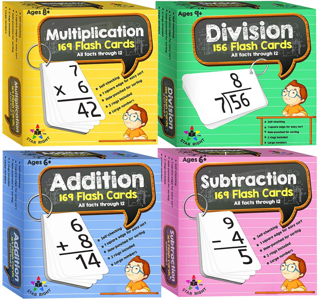 Star Right Multi Math Flashcards Pack   Addition, Subtraction,  Multiplication, Division   1 Ring And 52 Hole Punched Cards Per Set   208  Cards Total