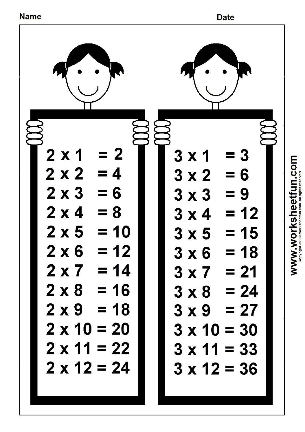 Times Table Chart – 2 & 3 | Free Printable Worksheets, Times