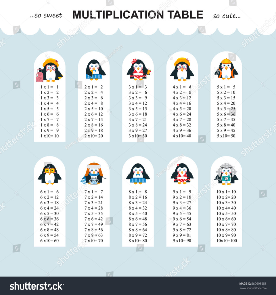 Vector Multiplication Table Printable Bookmarks Stickers