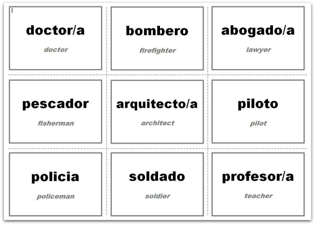 Vocabulary Flash Cards Using Ms Word
