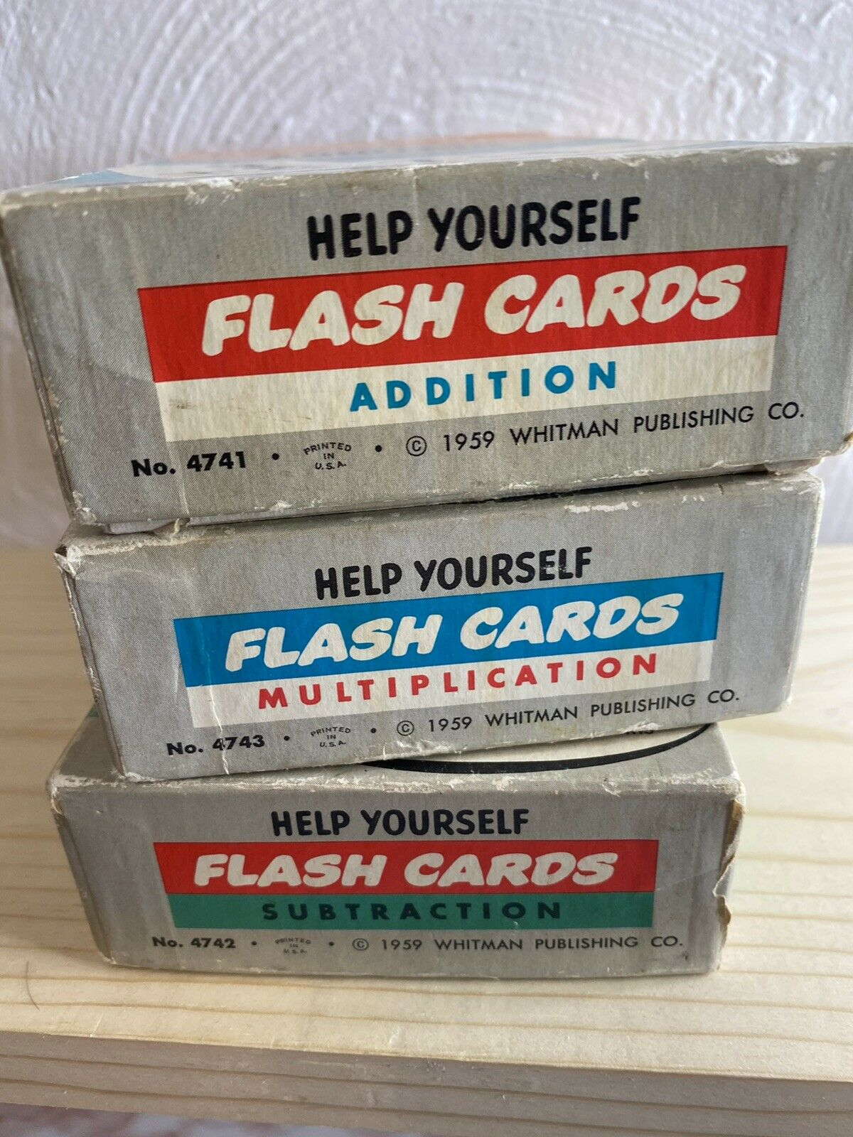 Vtg 1959 Whitman Help Yourself Math Flash Cards Lot Of 3