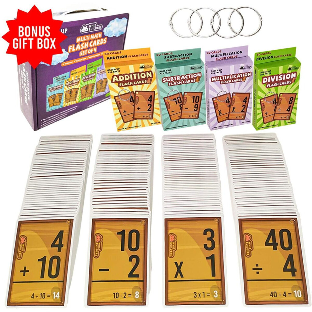Whizbuilders Multi Math Flash Cards Addition, Subtraction, Division And  Multiplication Flash Cards Bundle   Educational Learning Kindergarten