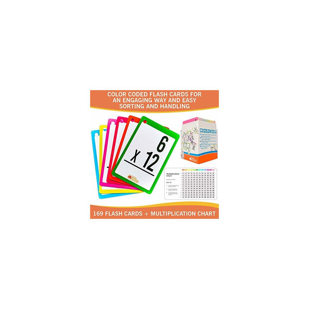 Whizbuilders Multiplication Flash Cards Set 169 Math Flash Cards With Flash  Card Rings For Easy Organization – Ideal Kids Flash Cards For 3Rd, 4Th,