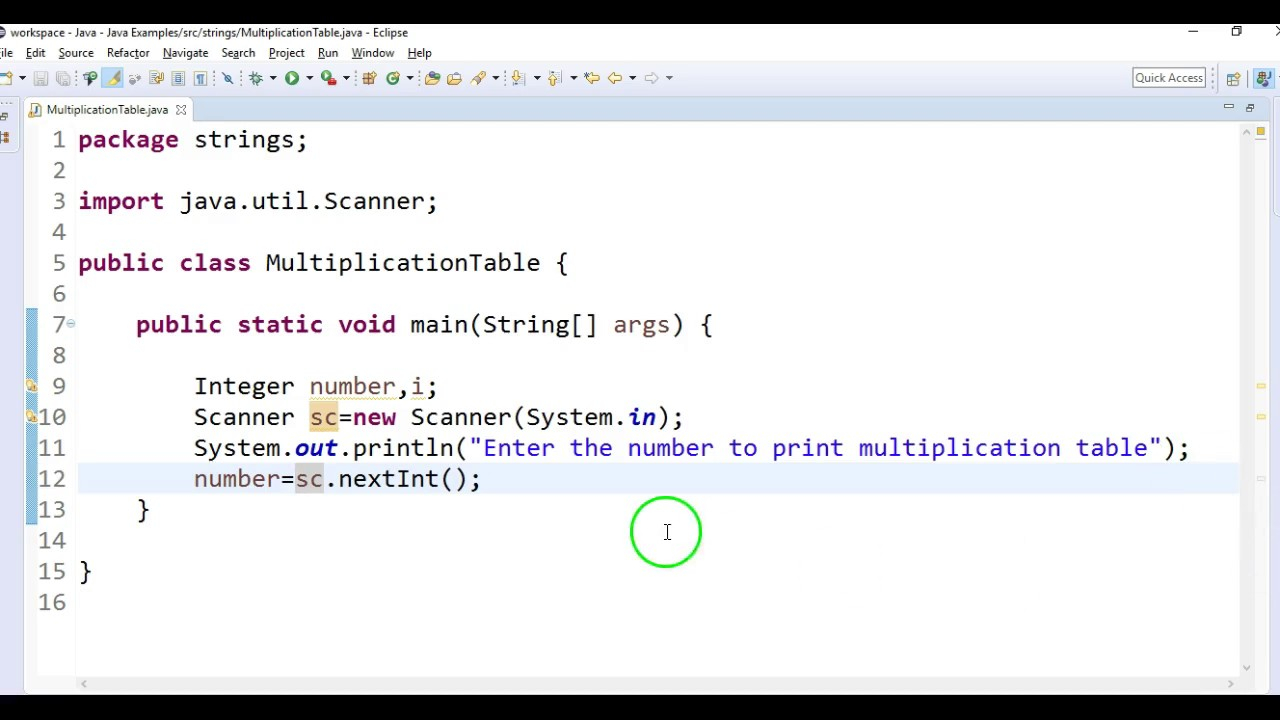 Write A Java Program To Print Multiplication Table In Java?