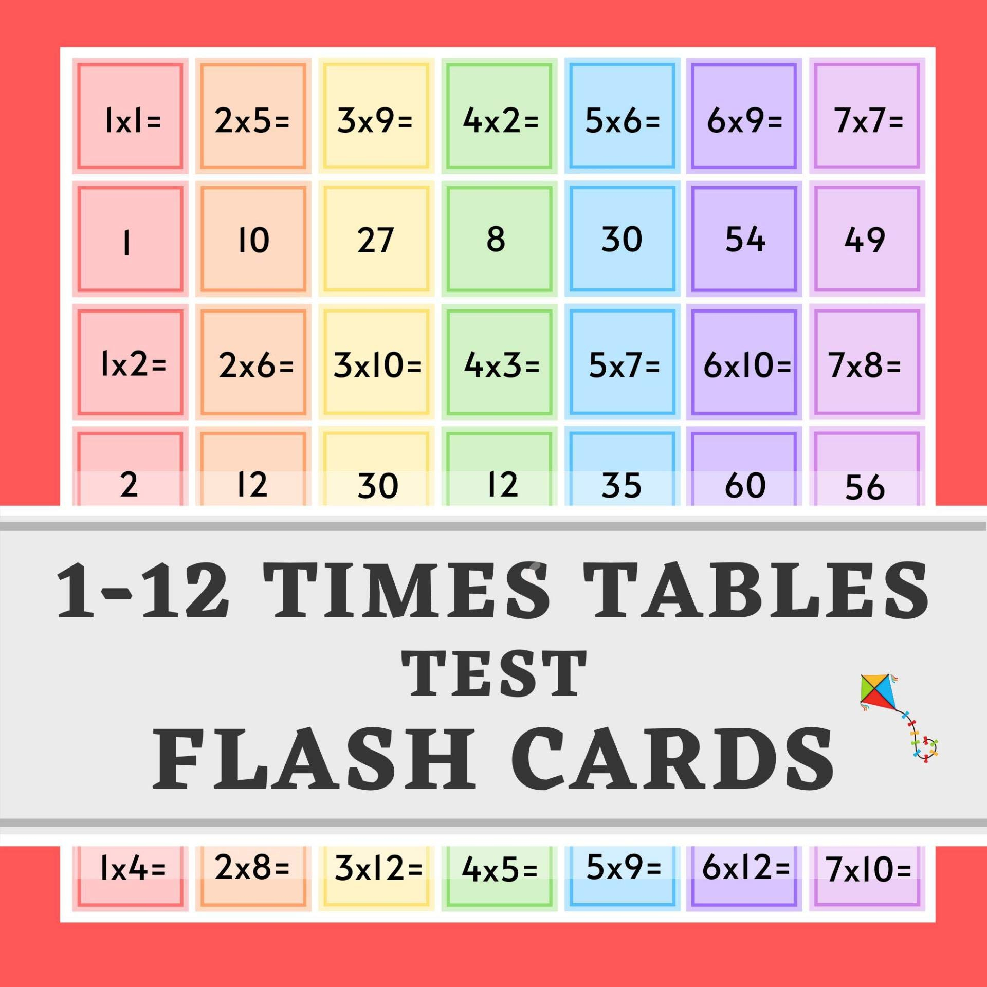 1-12 Times Tables Test Flash Cards: Practice Multiplication 10