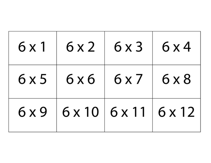 6 Multiplication Flash Cards