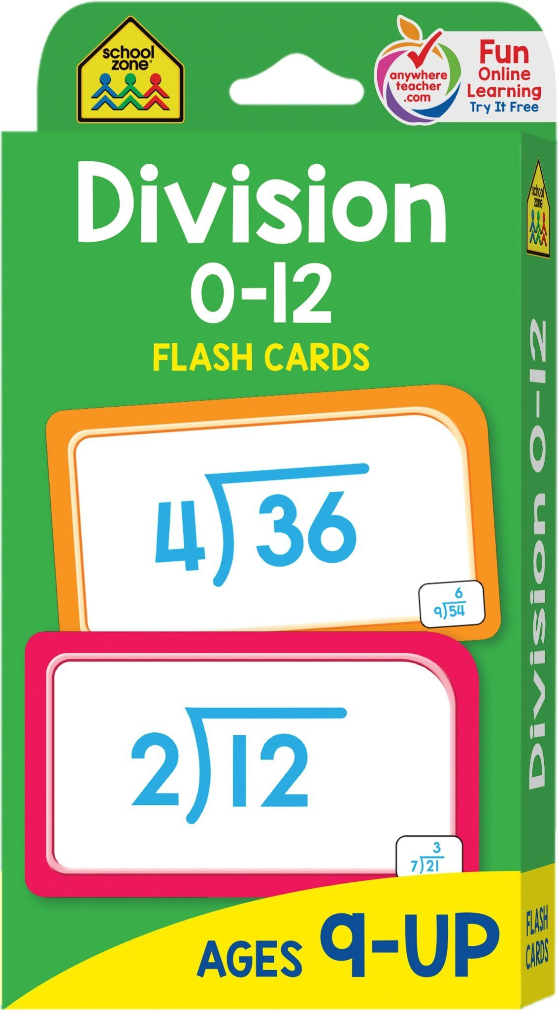 5 Free Flashcards Math Addition School Zone Division 0 12