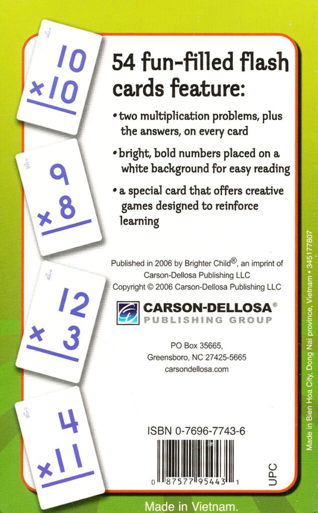 Carson Dellosa Spectrum Flash Cards Multiplication Flash