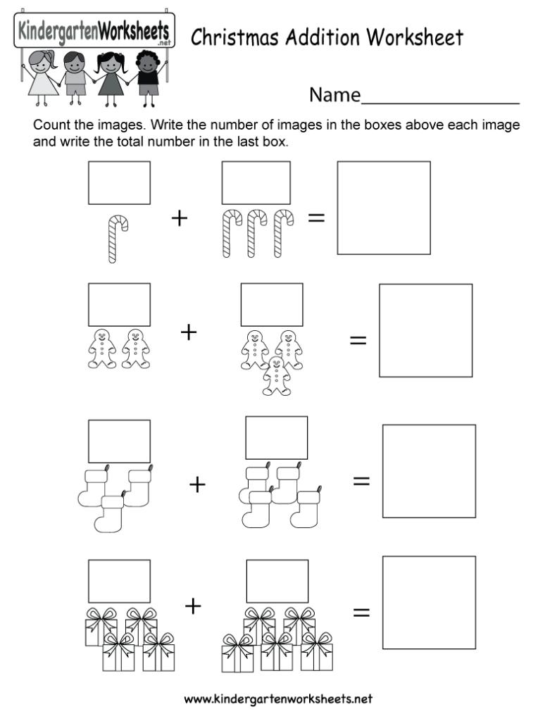 Christmas Addition Worksheet   Free Kindergarten Holiday