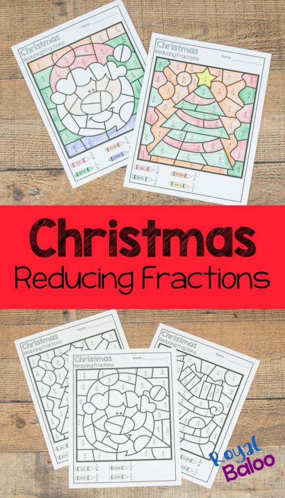 Christmas Colorreducing Fractions   Royal Baloo