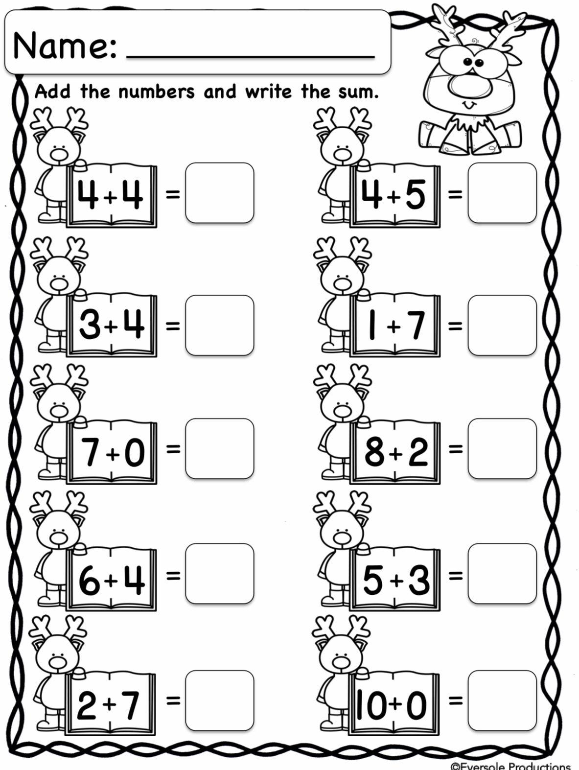 Christmas Math   Kindergarten Math Worksheets Addition
