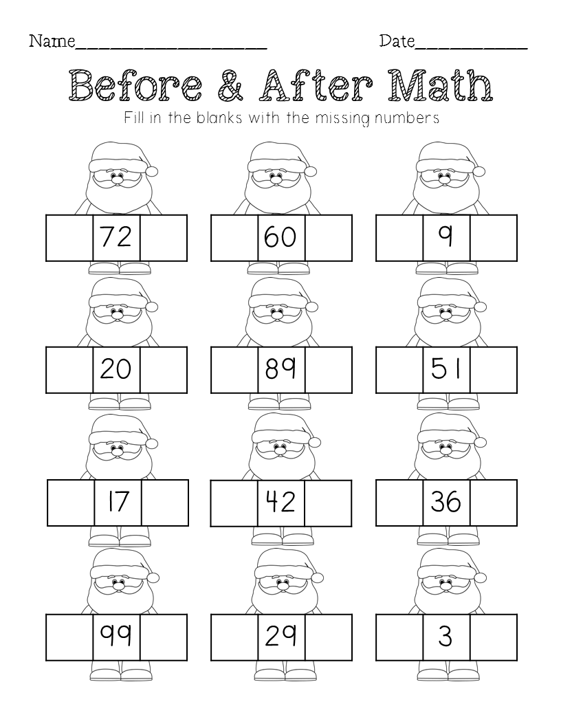 Christmas Math - Sequencing, Missing Number, Counting On