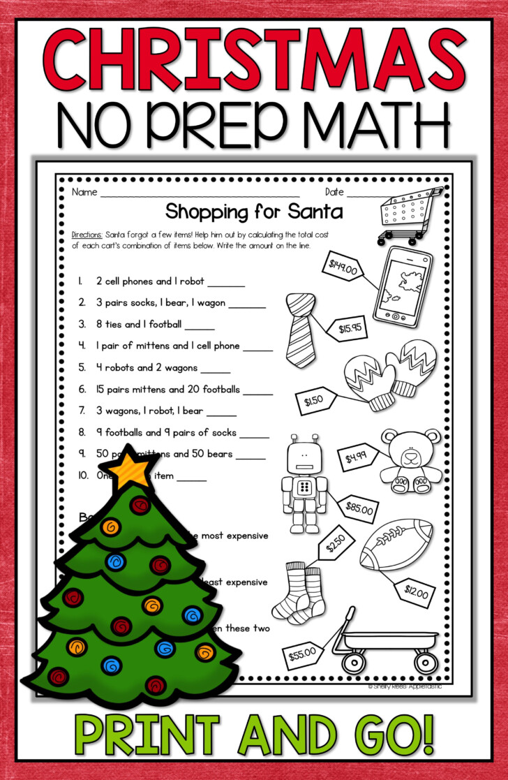 Grade 3 Christmas Math Worksheets