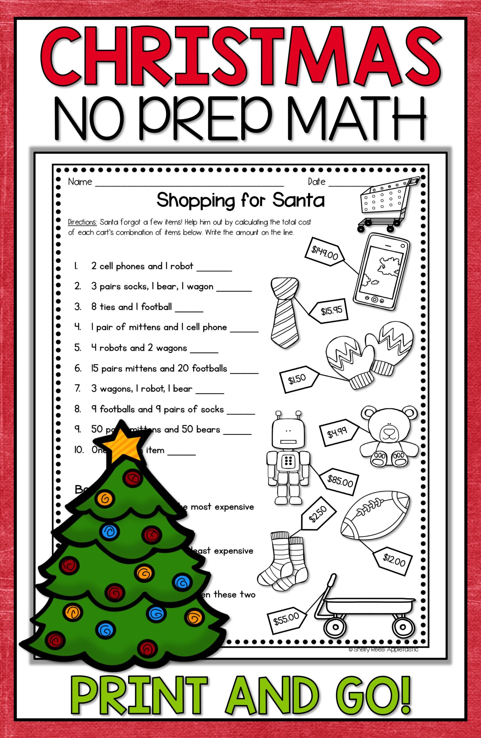 Christmas Math Worksheets For Fifth Grade Reading
