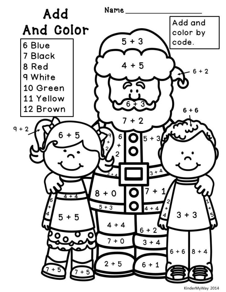Fun Math Christmas Coloring Worksheets