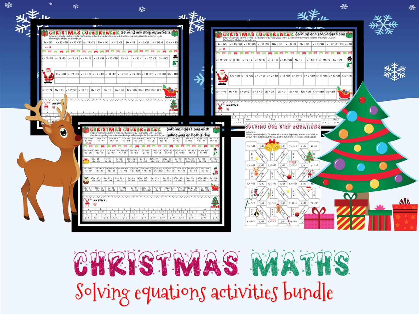 Christmas Maths: Solving Equations Activities Bundle