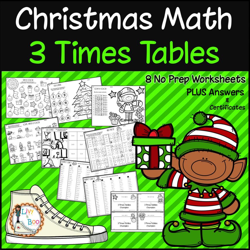 Christmas Multiplication   3 Times Tables   No Prep Worksheets