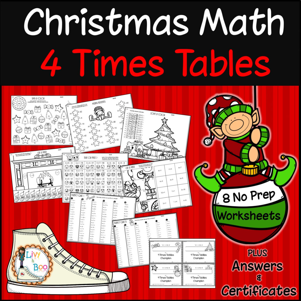 Christmas Multiplication   4 Times Tables   No Prep Worksheets