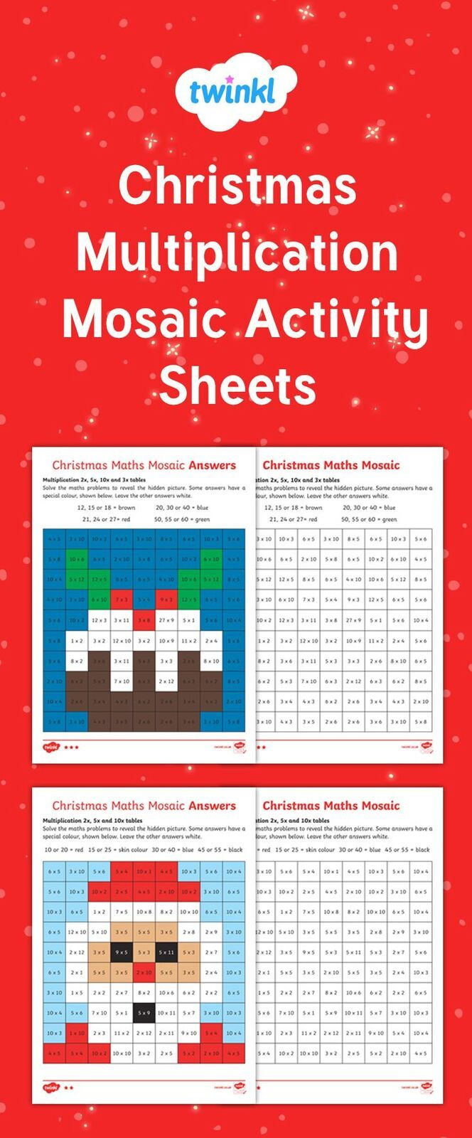 Christmas Multiplication Mosaic Activity Sheets! Solve The