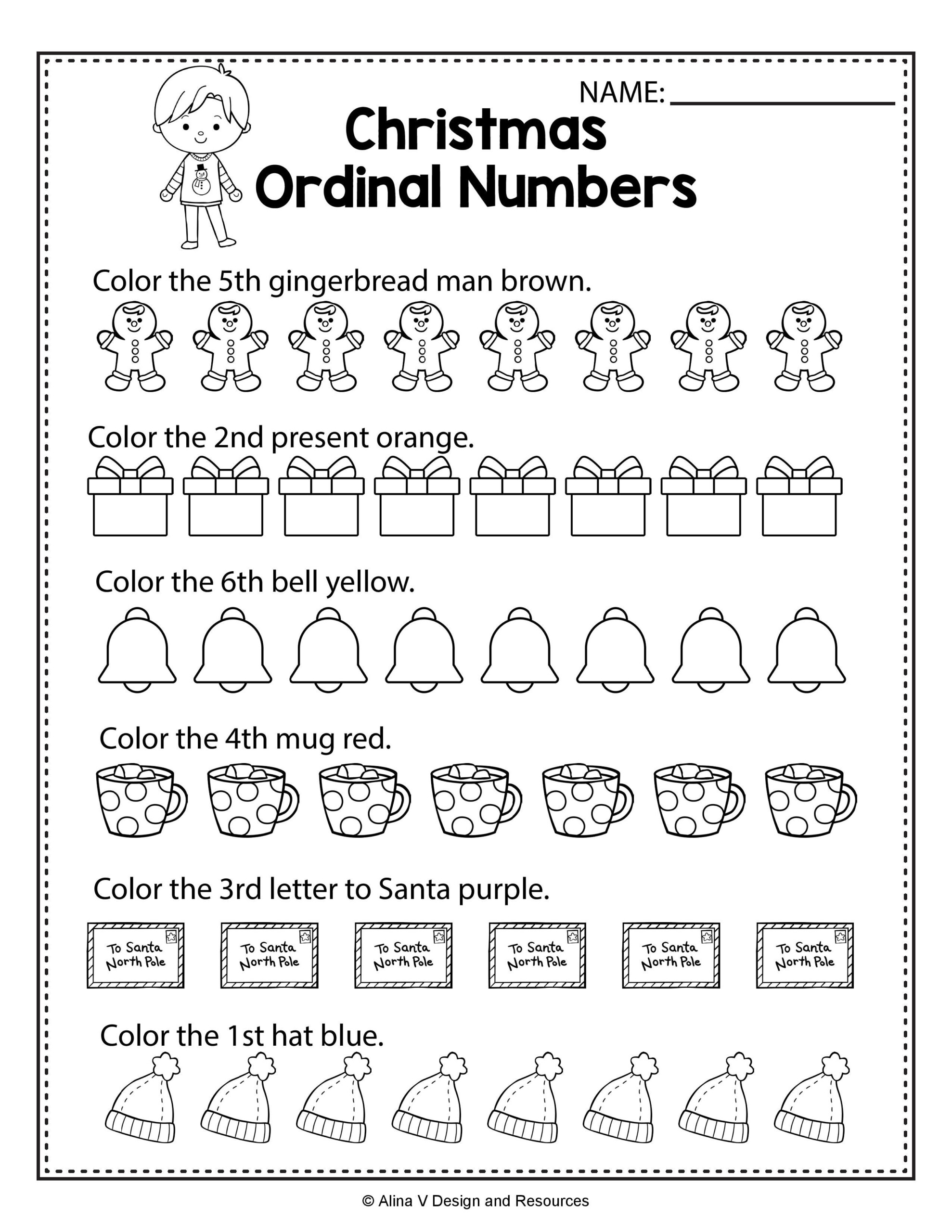 Christmas Ordinal Numbers - Math Worksheets And Activities