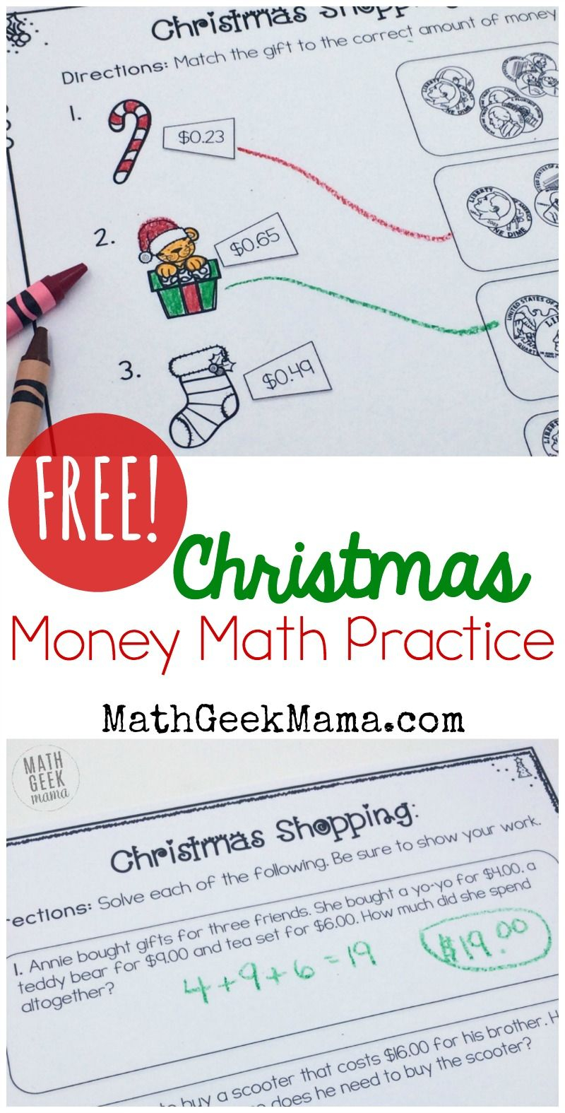 Christmas Shopping: Money Math Worksheets {Free} | Money
