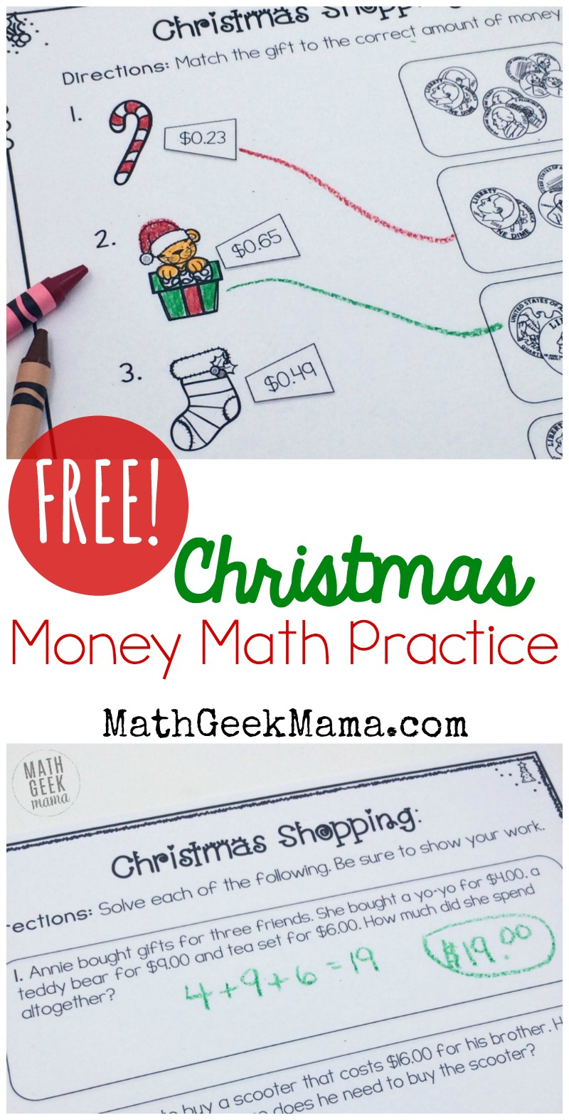 Christmas Shopping Money Math Worksheets Free Practice 4Th