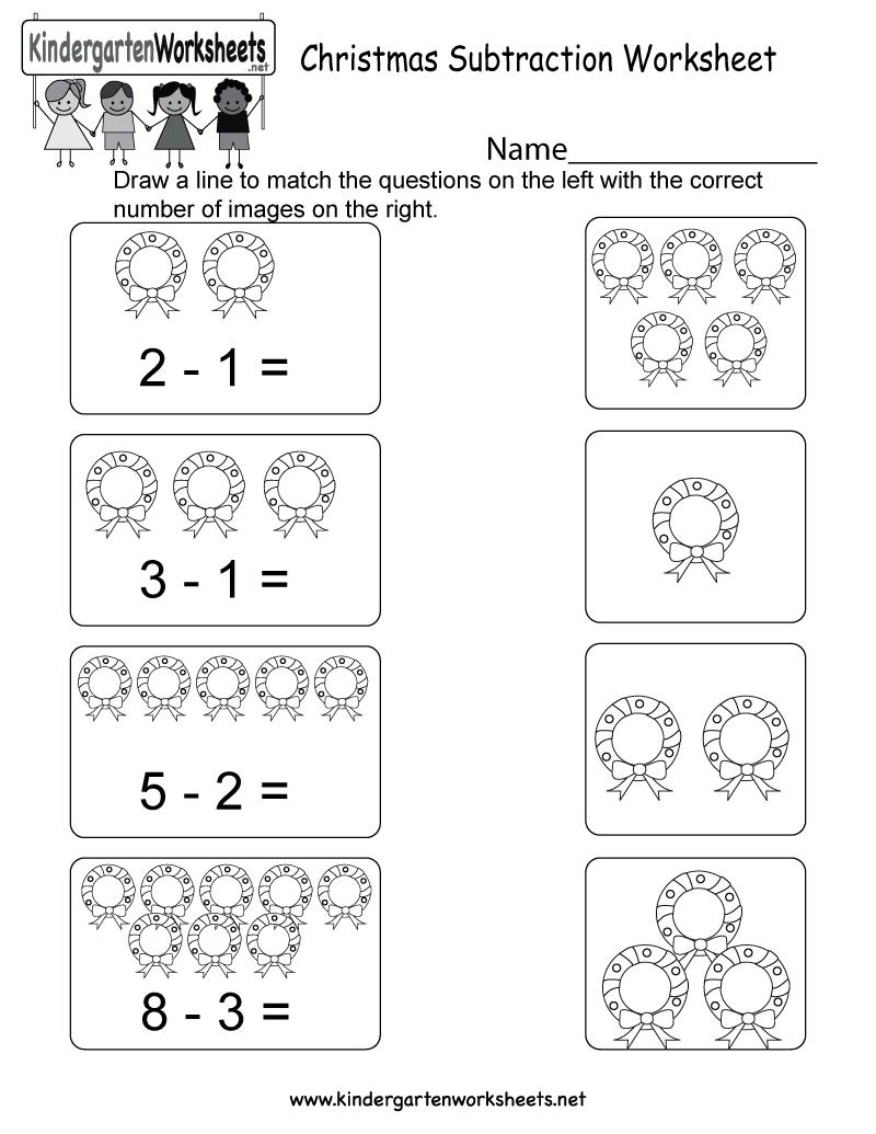 Christmas Subtraction Worksheet - Free Kindergarten Holiday