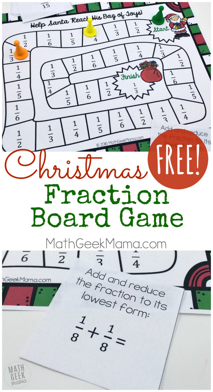 Christmas Themed Printable Fraction Game {Free}