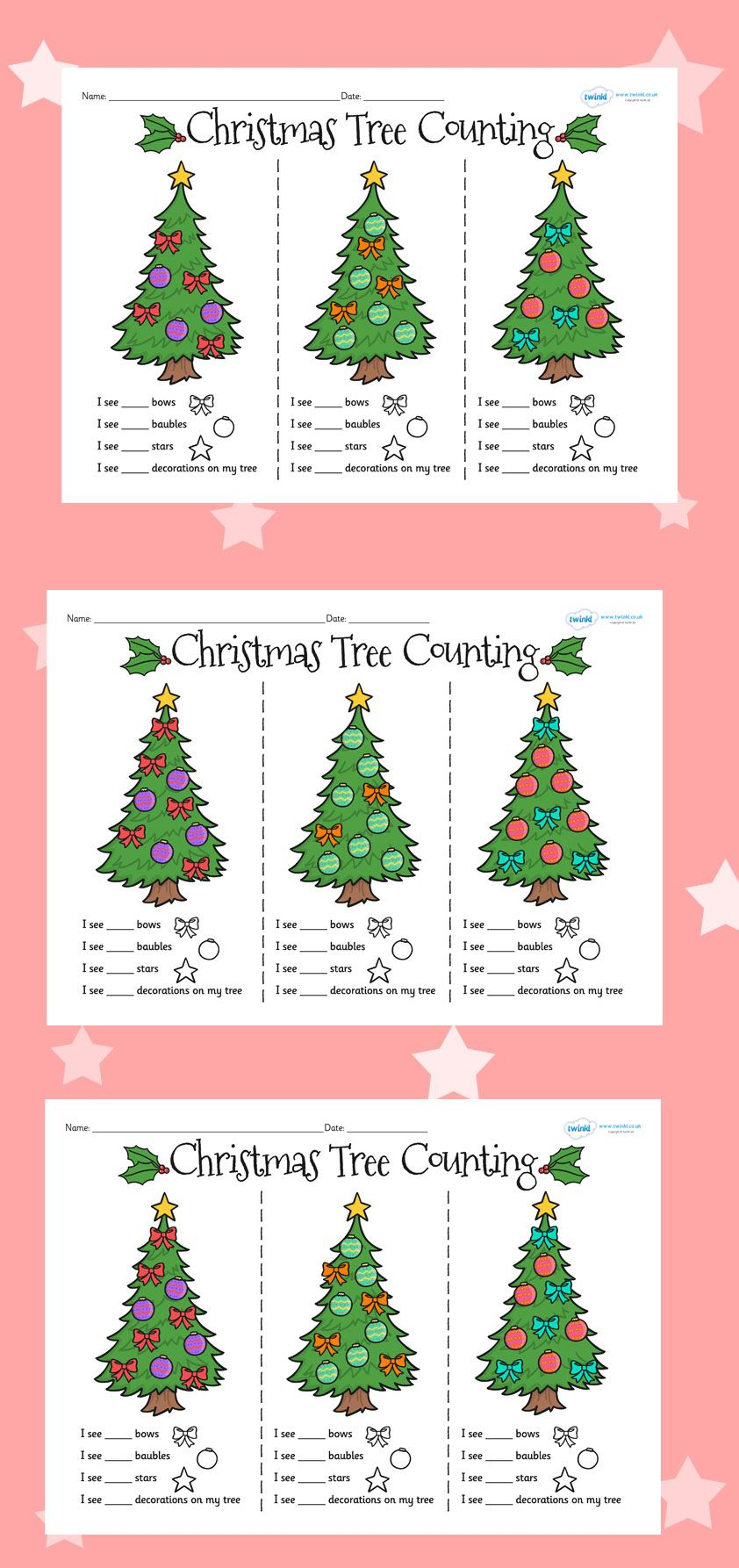 Christmas Tree Counting Worksheets | Christmas Math