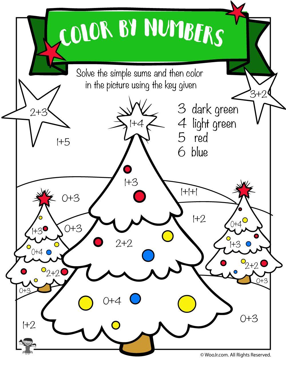 Christmas Tree Math Addition Worksheet | Woo! Jr. Kids