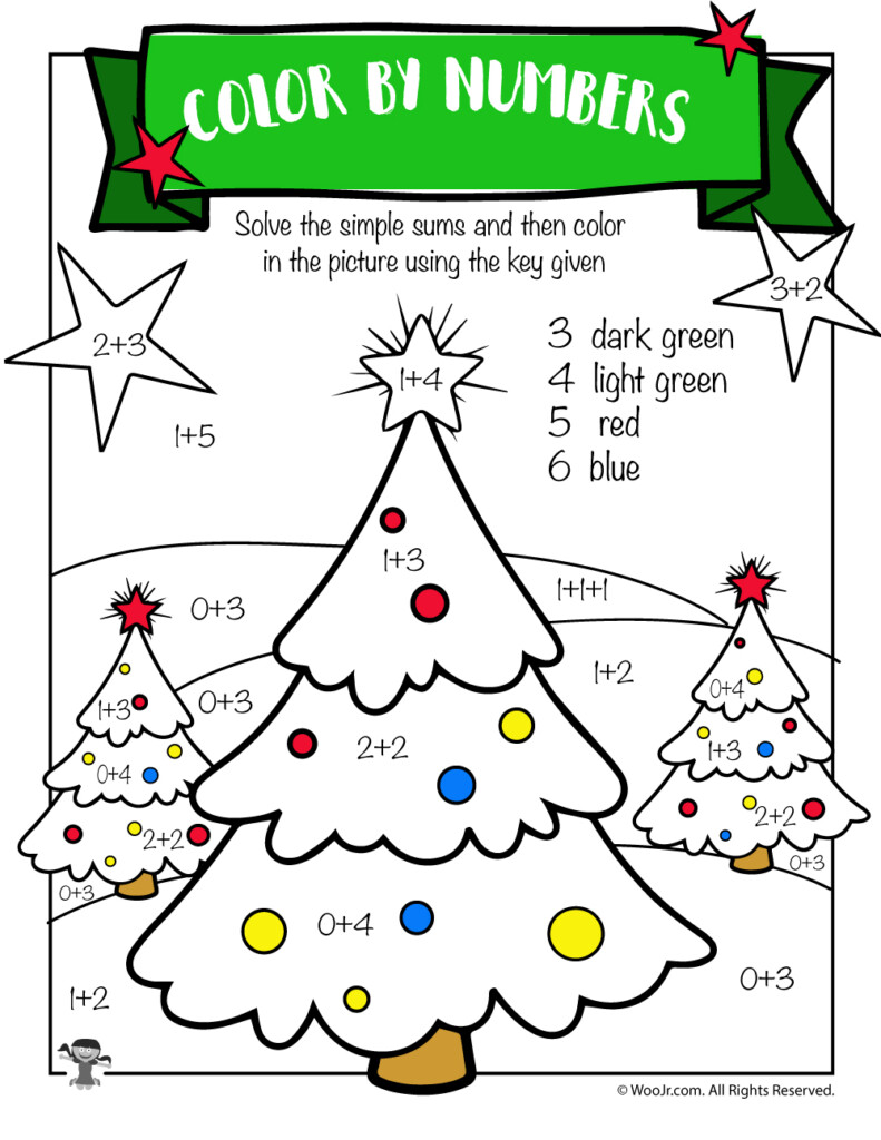 Christmas Tree Math Addition Worksheet | Woo! Jr. Kids