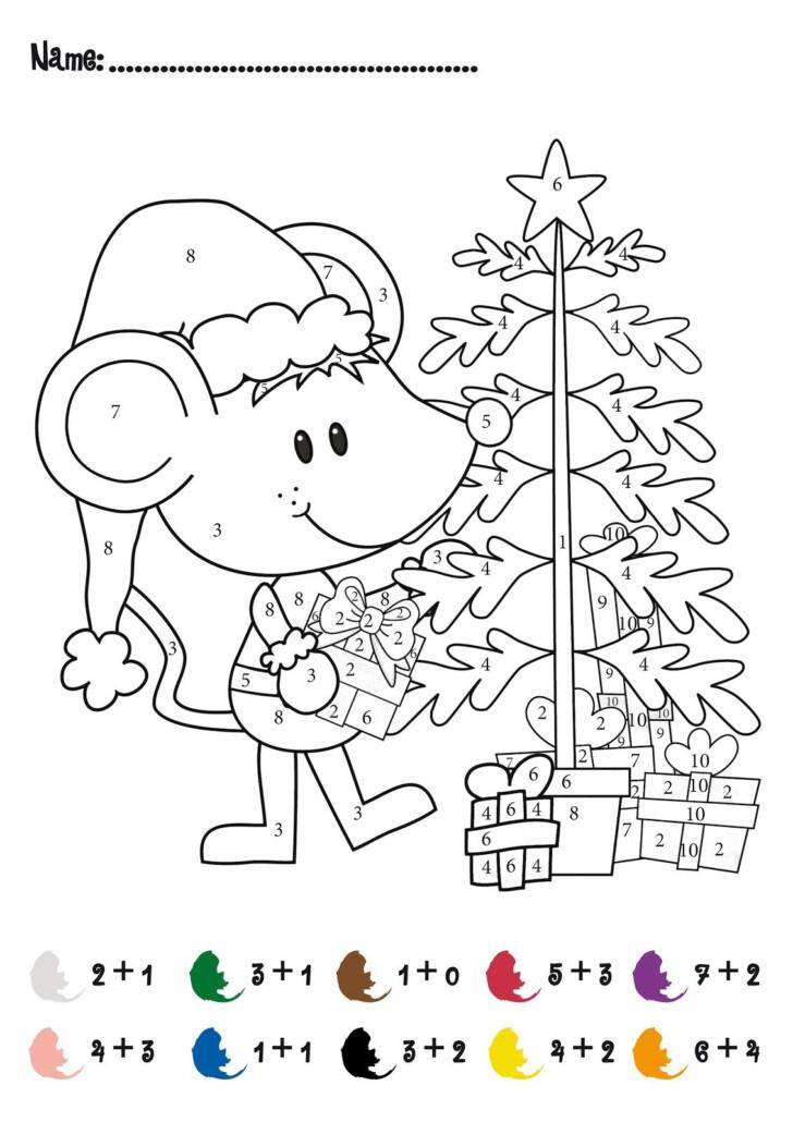 Math Coloring Worksheets 1st Grade Christmas