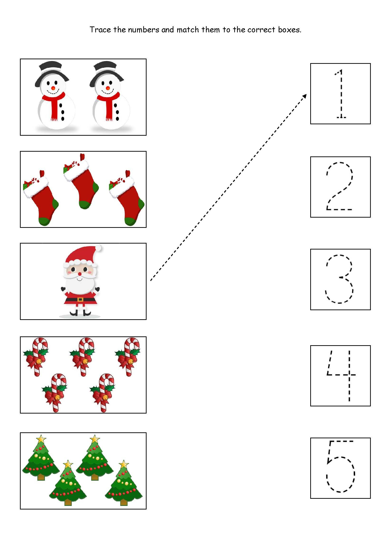 Cute Little Christmas Counting, Matching And Tracing