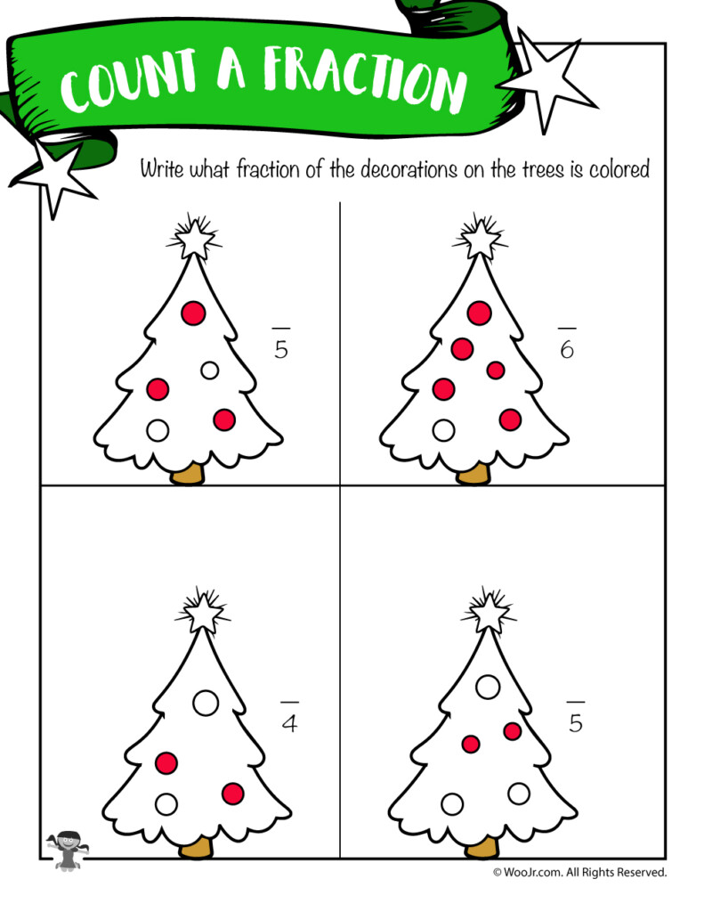Deduce The Fraction Worksheet With Christmas Trees   Woo! Jr