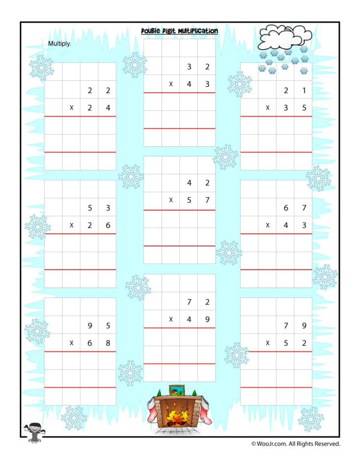 Christmas Double Digit Multiplication Worksheets