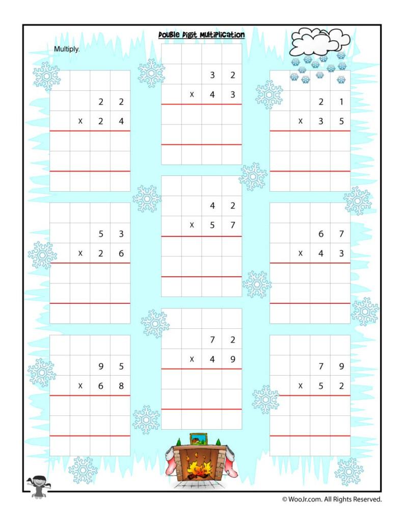 Double Digit Multiplication Christmas Worksheet   Woo! Jr