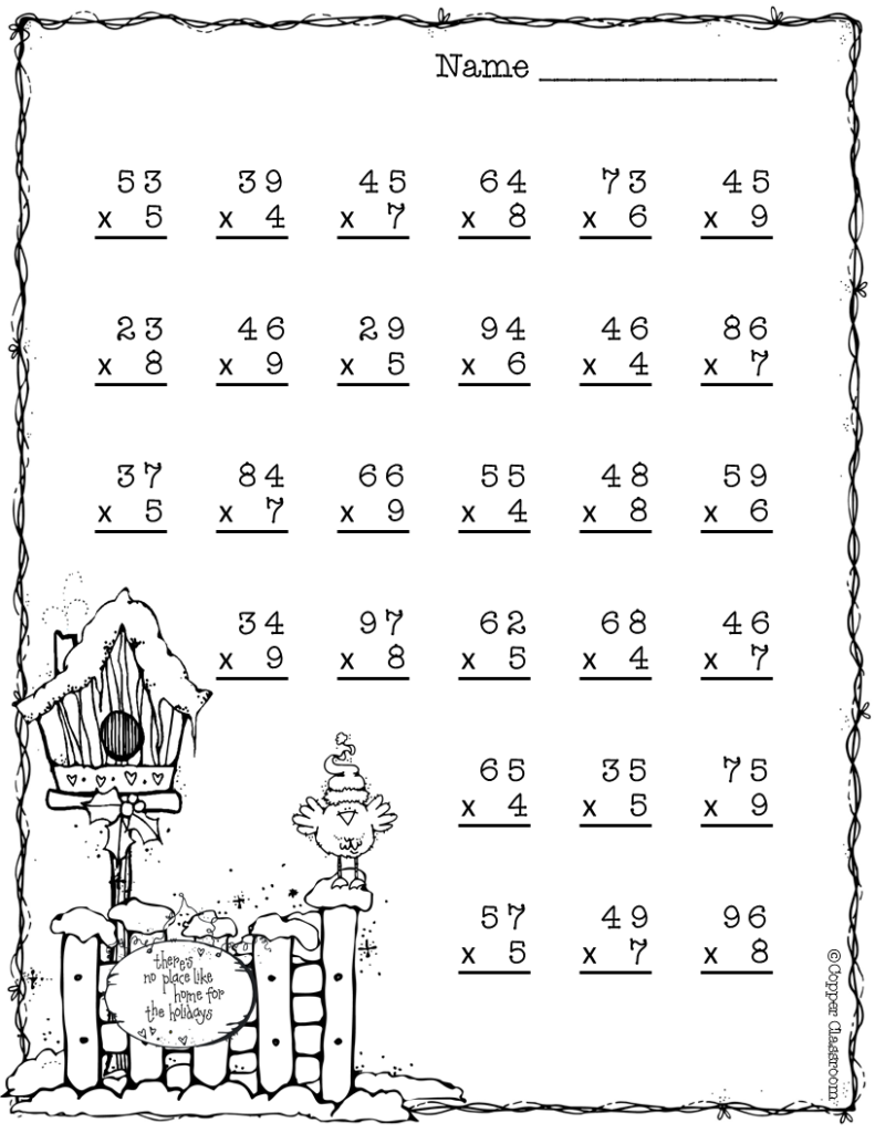 Double Digit Multiplication With Regrouping, Two Digit