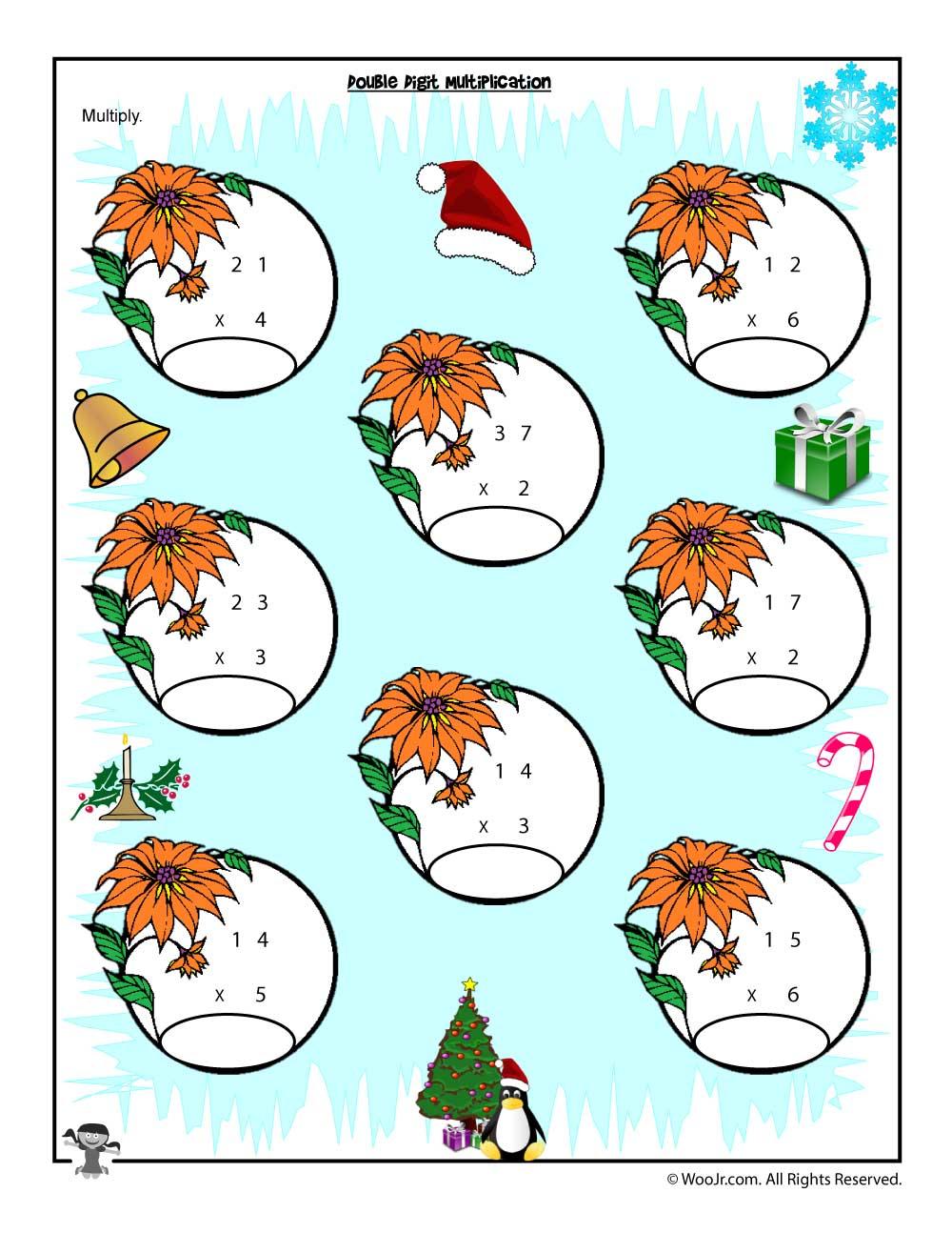 Double X Single Digit Multiplication Christmas Worksheet