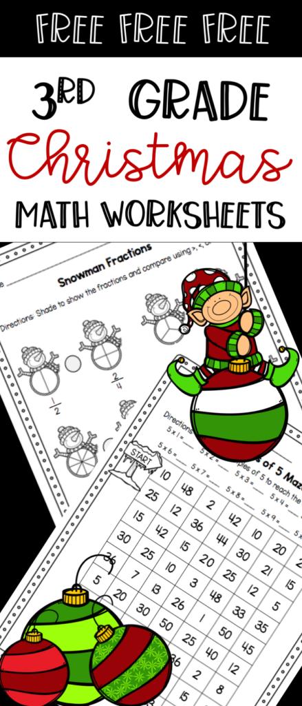 Free 3Rd Grade Christmas Math Worksheets   Comparing