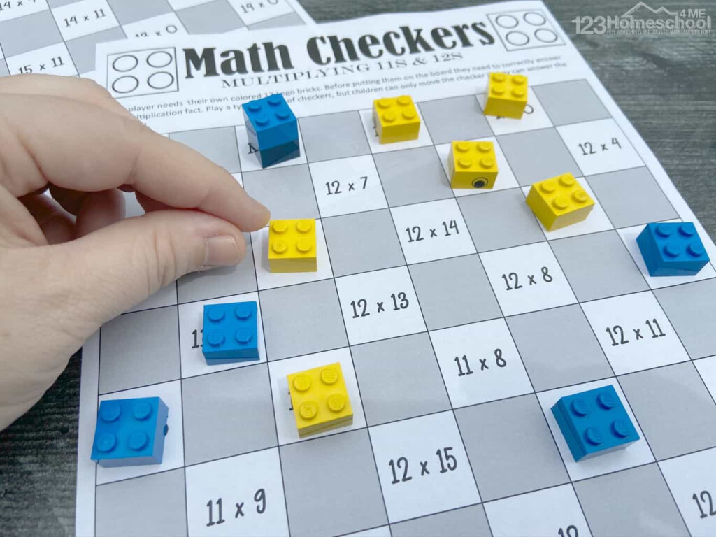 Free Checkers Printable Multiplication Games