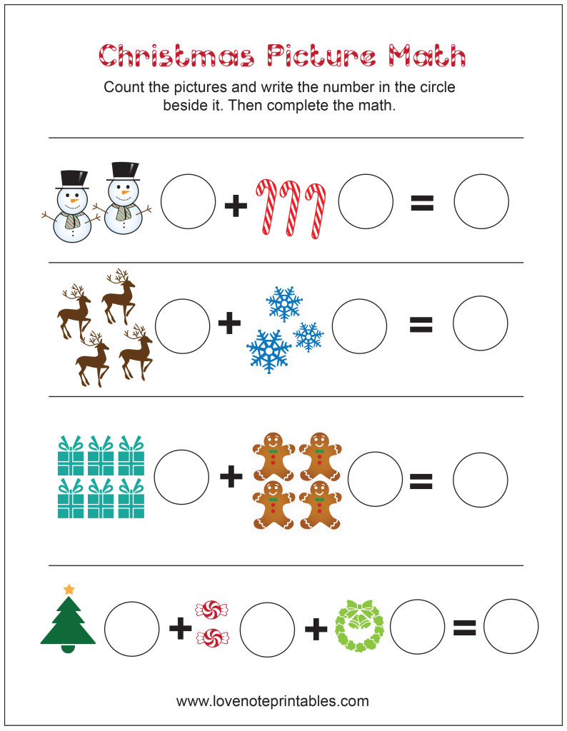 Free Christmas Themed Picture Math Worksheet - Love Note