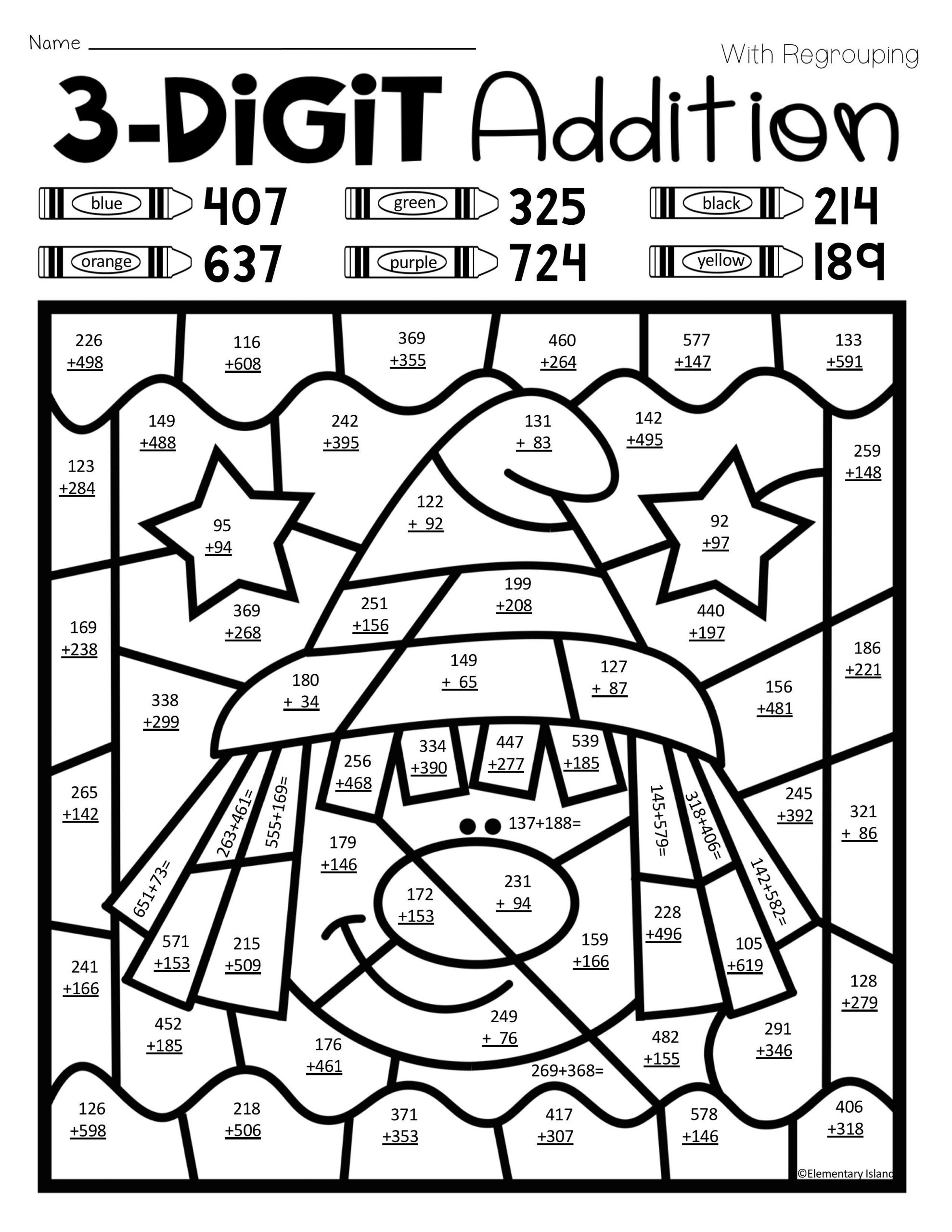 Free Math Coloring Worksheets For Kids Colornumber 3Rd