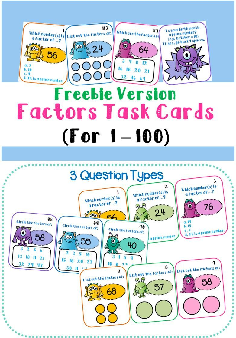 Free Monster-Themed Factor Task Cards! Find The Missing